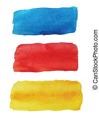 vattenfärg, lysande, baner