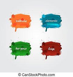 vattenfärg, lysande, plaska, elementara