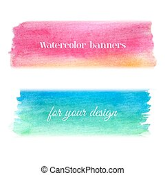 vattenfärg, lysande, sätta, baner