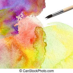 vattenfärg, målad, abstrakt, bakgrund