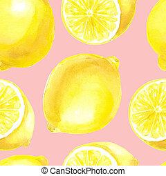 vattenfärg, mönster, citron