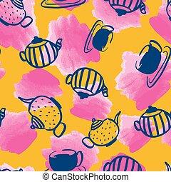 vattenfärg, mönster formge, tekanna, seamless