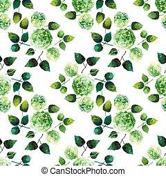 vattenfärg, mönster, hortensia