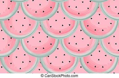 vattenfärg, mönster, vattenmelon, seamless