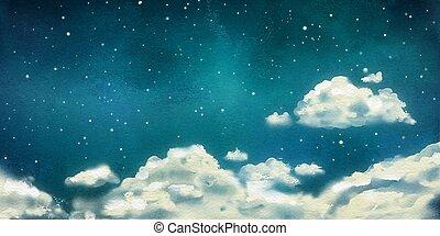 vattenfärg, nightly, skyn