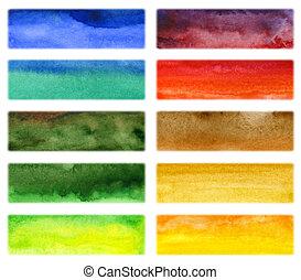 vattenfärg, oavgjord, abstrakt, bakgrund, hand