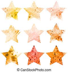 vattenfärg, set., lysande, stjärnor, ikon