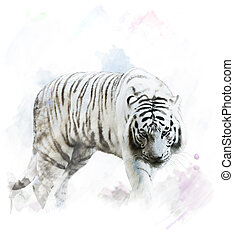 vattenfärg, tiger, vit, stående