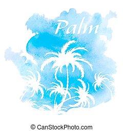 vattenfärg, träd, palm, bakgrund