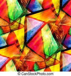 vattenfärg, triangel, färg, mönster, abstrakt, seamless, struktur, vatten, måla, gul, design, papper, bakgrund, grön, konst, röd
