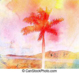 vattenfärg, tropisk, retro, handflator