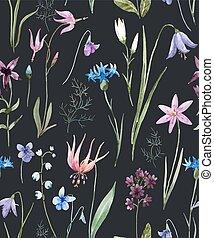 vattenfärg, vild blommar, mönster