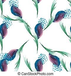 vattenfärg, violett, blommig, seamless, vektor, mönster, vita