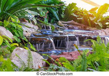 vattenfall, in, trädgård, med, växt, hos, publik parkera