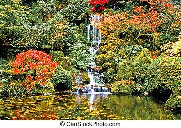vattenfall, japanska trädgård