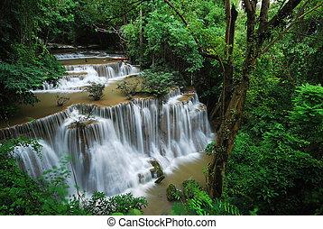 vattenfall, med, blå, ström, in, den, natur, thailand, skog