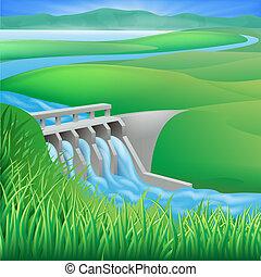 vattenkuranstalt, fördämning, vatten makt, energi, illust