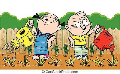 vattning, barn, trädgård