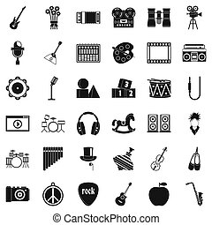Vaudeville icons set. Simple set of 36 vaudeville icons for web isolated on white background