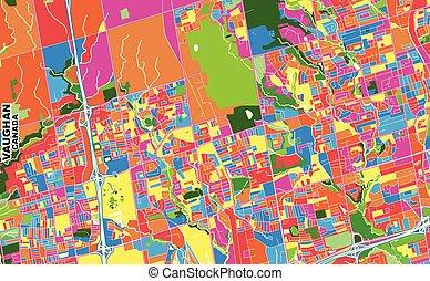 Vaughan, Ontario, Canada, colorful vector map