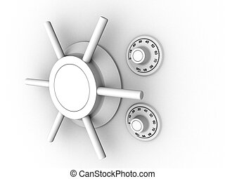 vault lock - 3d rendered illustration from a part of a safe
