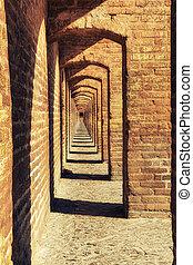 Vaulted arcades of Khaju bridge, Isfahan, Iran