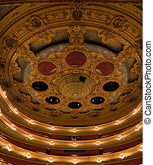 Vaulted ceiling and boxes at the Teatro Liceu, Barcelona