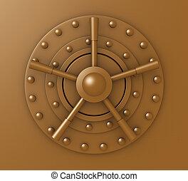 Vaulted Door Lock - 3D Illustration.
