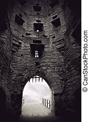 medieval castle gate - Vaulted medieval castle gate with...