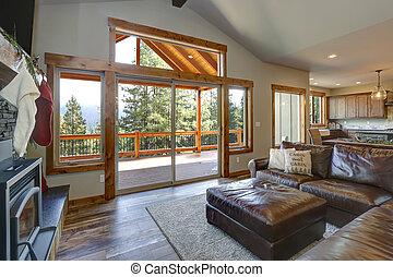 vaulted, vivente, soffitto, interno, stanza