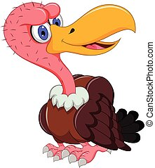 vautour, mignon, poser, dessin animé