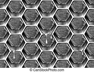 vaxkaka, seamless, honung, droppande, bakgrund