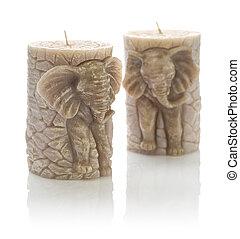 vaxljus, elefant, två, bilda