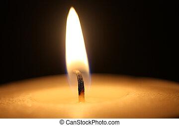vaxljus flamma, in, tillsluta