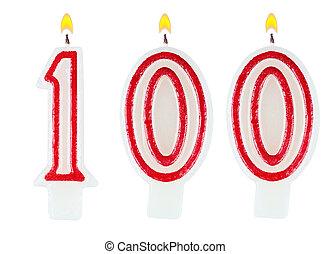 vaxljus, hundra, numrera, födelsedag, en