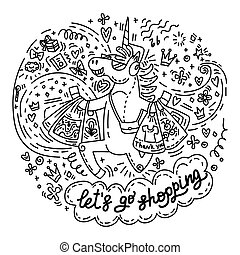 vaya de compras, lets, unicornio