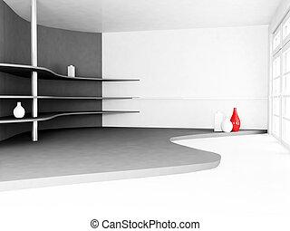 vazen, muur, planken