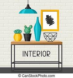 vazen, picture., huisinterieur, tafel, decor.