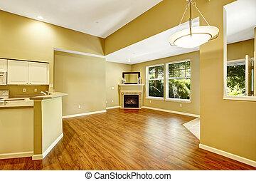vazio, apartamento, com, abertos, chão, plan., sala de estar, com, fireplac