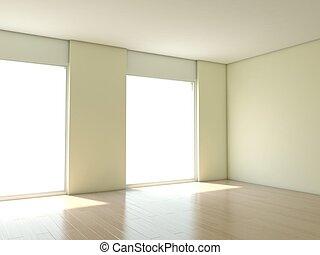 vazio, apartamento, com, branca, paredes