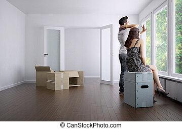 vazio, apartamento, com, um, par jovem