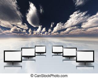 vazio, apartamento, painéis, em, branca, com, céu