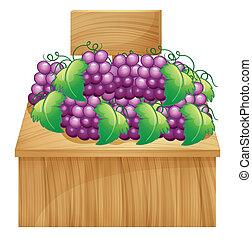 vazio, banco testemunhas fruta, uvas, signage