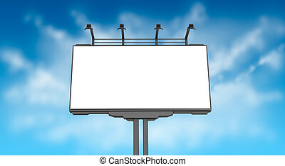 vazio, billboard, ligado, céu azul