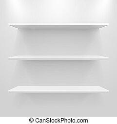 vazio, branca, prateleiras, ligado, luz, cinzento, fundo