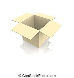 vazio, caixa papelão