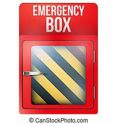 vazio, caixa vermelha, com, caso emergência