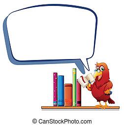 vazio, callout, livro, papagaio, leitura