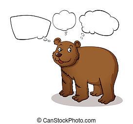 vazio, callouts, urso, marrom