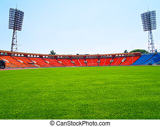 vazio, campo futebol americano, e, estádio